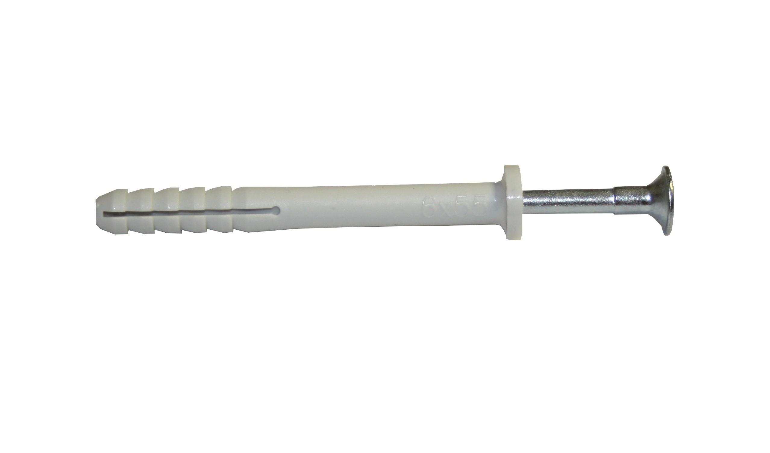 Hmoždinka natloukací 6x55mm plochá, nylon