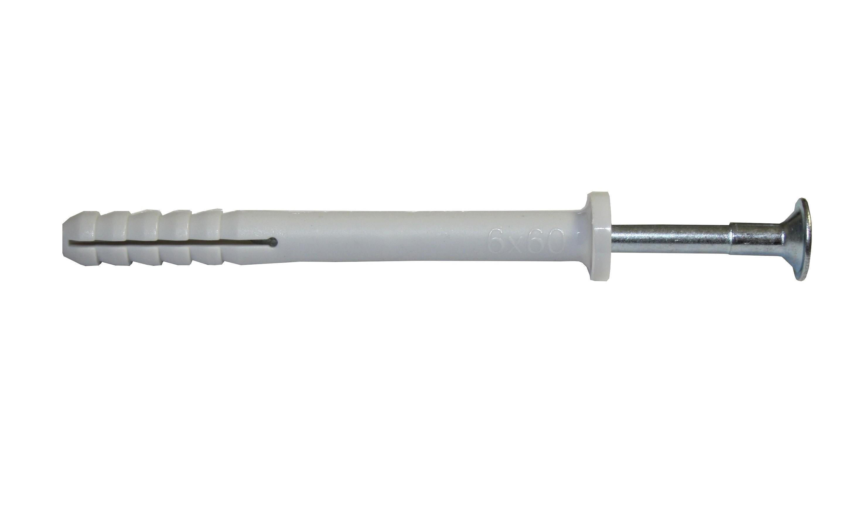 Hmoždinka natloukací 6x60mm plochá, nylon