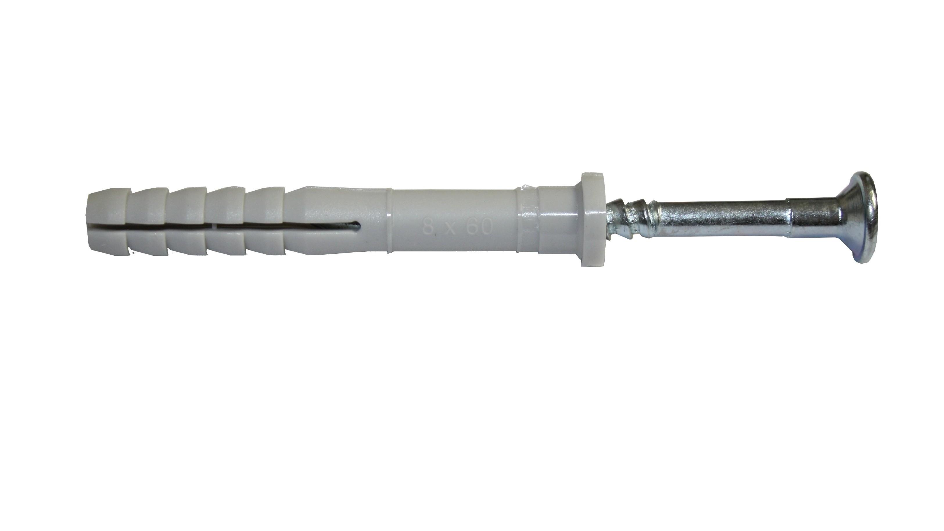 Hmoždinka natloukací 8x60mm plochá, nylon