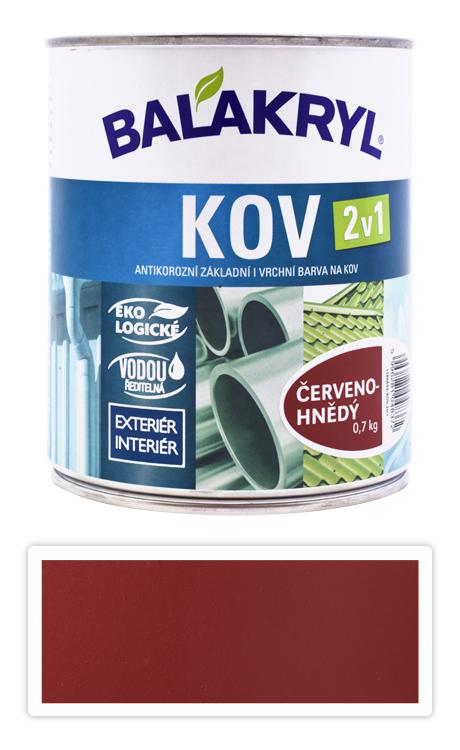 BALAKRYL Kov 2v1 - vodou ředitelná antikorozní barva na kov 0.75 l Červenohnědá 0840