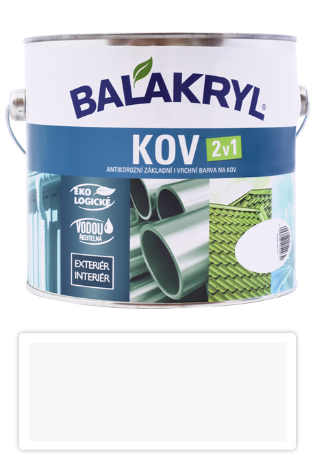 BALAKRYL Kov 2v1 - vodou ředitelná antikorozní barva na kov 2.5 l Bílá 0100
