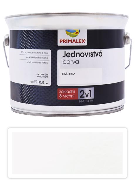 PRIMALEX 2v1 - syntetická antikorozní barva na kov 2.5 l Bílá RAL 9002