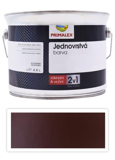 PRIMALEX 2v1 - syntetická antikorozní barva na kov 2.5 l Hnědá RAL 8016